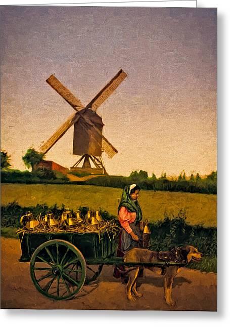 Horse And Cart Digital Art Greeting Cards - The Milkseller  Greeting Card by John K Woodruff