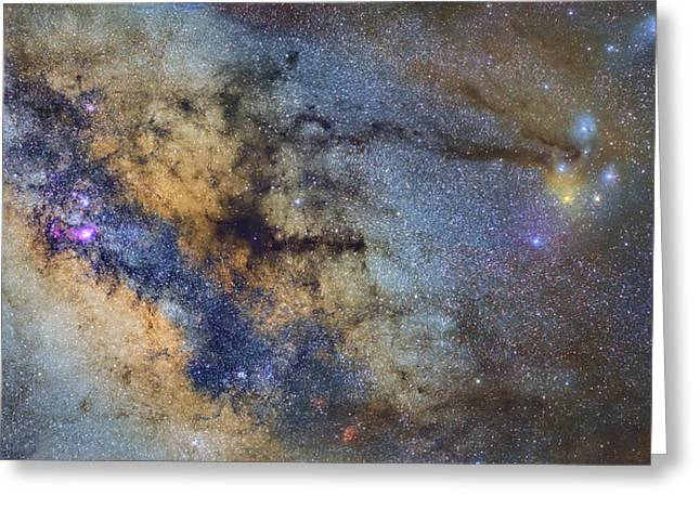 Rho Greeting Cards - The Milky Way and constellations Scorpius Sagittarius and the super big red star Antares Greeting Card by Guido Montanes Castillo