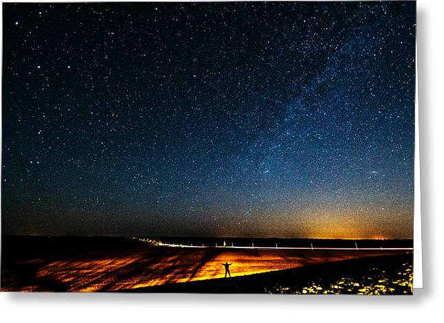 The Milky Way And My Shadow Greeting Card by Matt Molloy