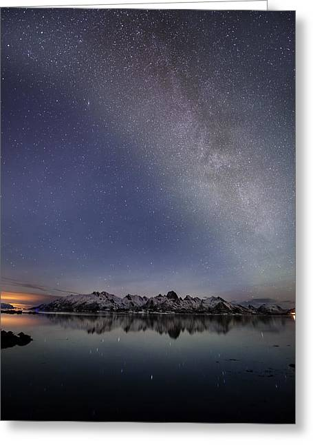 Norway Beach Greeting Cards - The Milky Way Greeting Card by Frank Olsen