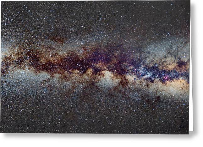 Astronomic Greeting Cards - The Milky Way from Scorpio Antares and Sagitarius to Scutum and Cygnus Greeting Card by Guido Montanes Castillo