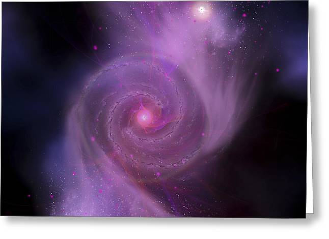Merging Greeting Cards - The Milky Way Galaxy And Andromeda Greeting Card by Corey Ford