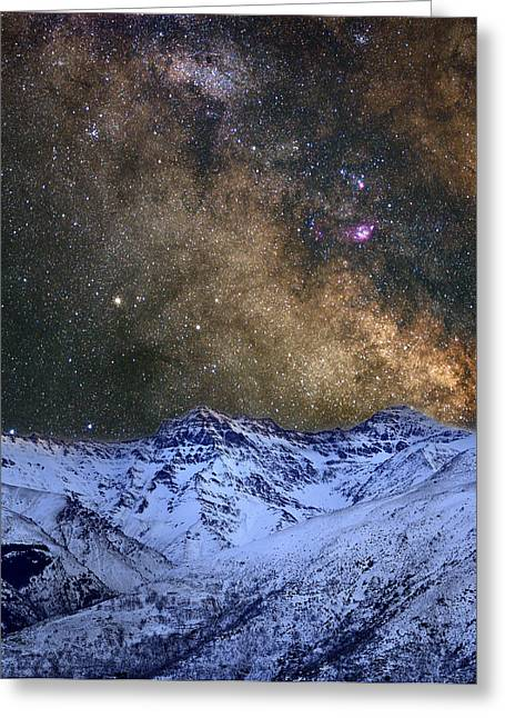 Astronomic Greeting Cards - The milky way over the high mountains Greeting Card by Guido Montanes Castillo