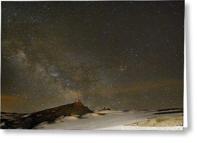 the Milky Way Sagittarius and Antares over the Sierra Nevada National Park Greeting Card by Guido Montanes Castillo