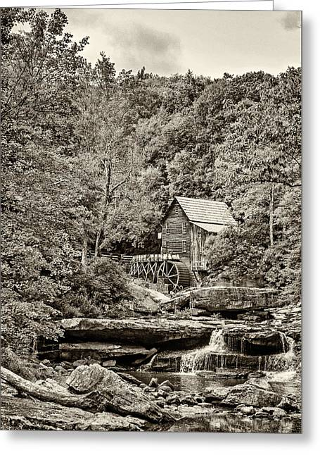 The  Mill At Babcock Sepia Greeting Card by Steve Harrington