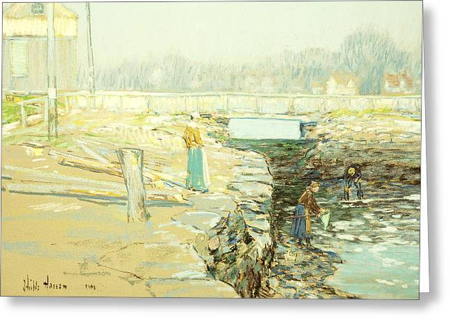Caucasian Ethnicity Greeting Cards - The Mill Dam Cos Cob Greeting Card by Childe Hassam