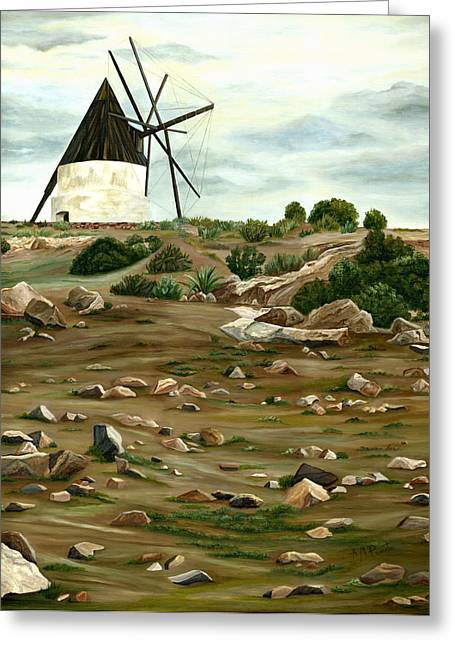 Mills Paintings Greeting Cards - The Mill Greeting Card by Angeles M Pomata
