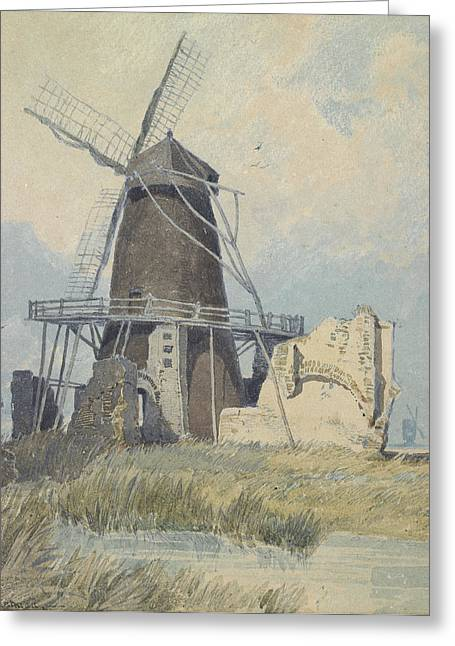 Mills Greeting Cards - The Mill St Benets Abbey Greeting Card by John Sell Cotman