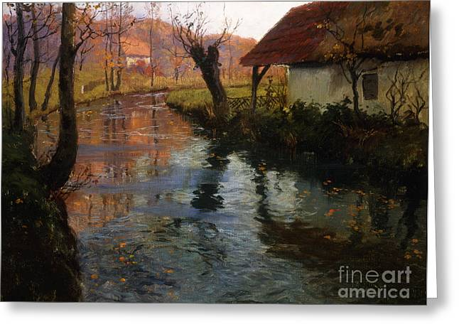 Water Mill Greeting Cards - The Mill Stream Greeting Card by Fritz Thaulow