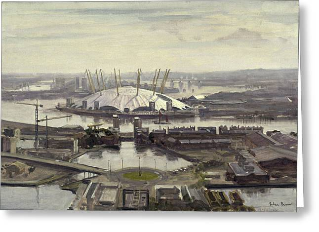 Urban Buildings Greeting Cards - The Millennium Dome From Canary Wharf Oil On Canvas Greeting Card by Julian Barrow