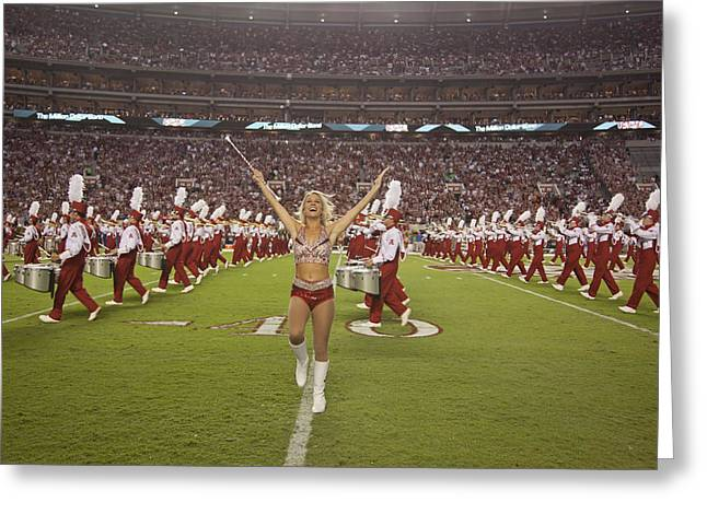 Crimson Tide Photographs Greeting Cards - The Million Dollar Marching Band of the University of Alabama Greeting Card by Mountain Dreams
