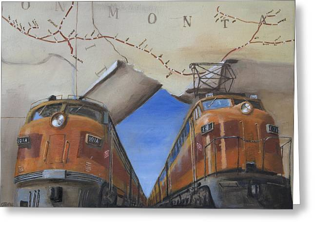 Freight Train Greeting Cards - The Milwaukee Rolls West Greeting Card by Christopher Jenkins