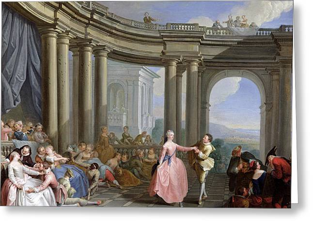 The Ball Greeting Cards - The Minuet Greeting Card by Jacques Sebastien Le Clerc