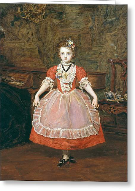 Dancing Girl Greeting Cards - The Minuet Oil On Panel Greeting Card by Sir John Everett Millais