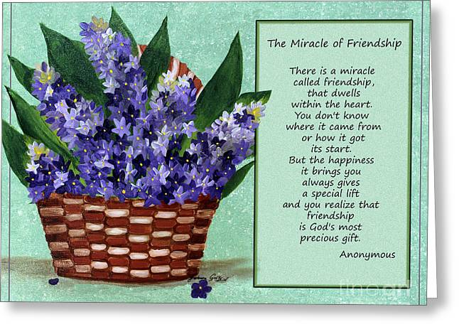 True Friendship Greeting Cards - The Miracle of Friendship Greeting Card by Barbara Griffin