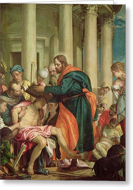 Gospel Of Matthew Greeting Cards - The Miracle Of St. Barnabas, C.1566 Oil On Canvas Greeting Card by Veronese