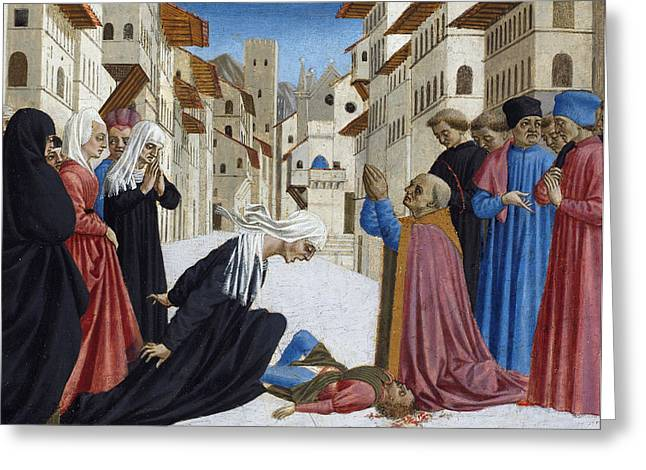 Restored Greeting Cards - The Miracle Of St. Zenobius, 1442-48 Greeting Card by Domenico Veneziano