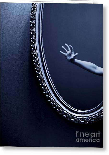 Fear Greeting Cards - The Mirror Greeting Card by Diane Diederich