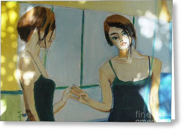 Emotive Greeting Cards - The Mirror Has Two Faces2 Greeting Card by Judy Kay