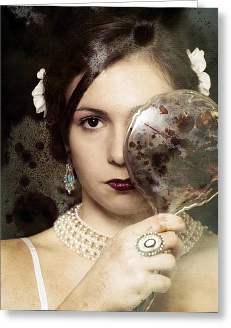 Ancient Jewelry Photographs Greeting Cards - The Mirror Greeting Card by Joana Kruse
