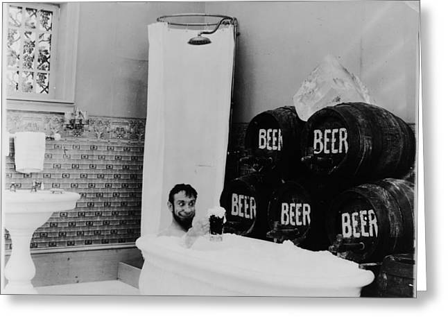 1916 Digital Greeting Cards - The Mishaps of Musty Suffer - Bathtub of Beer Greeting Card by George Kleine
