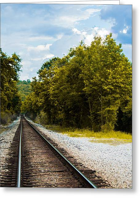 Gravel Road Greeting Cards - The Missing Train Greeting Card by Shelby  Young