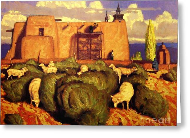Taos Pastels Greeting Cards - The Mission at Las Trampas Greeting Card by Doyle Shaw