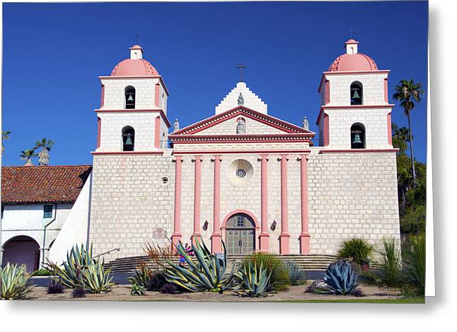 The Followers Digital Art Greeting Cards - The Mission At Santa Barbara California Greeting Card by Barbara Snyder