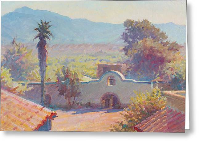 Artists Colony Greeting Cards - The Mission at Tubac Greeting Card by Ernest Principato