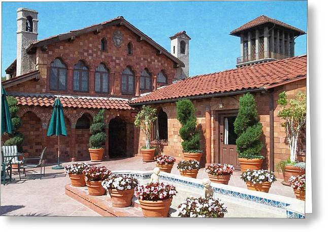 Garden Statuary Greeting Cards - The Mission Inn Hotel - Presidential Suite Court Greeting Card by Glenn McCarthy Art and Photography