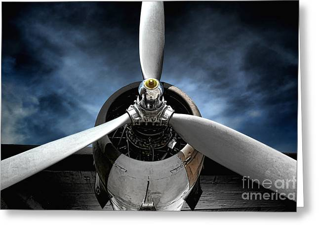 Plane Engine Greeting Cards - The Mission Greeting Card by Olivier Le Queinec