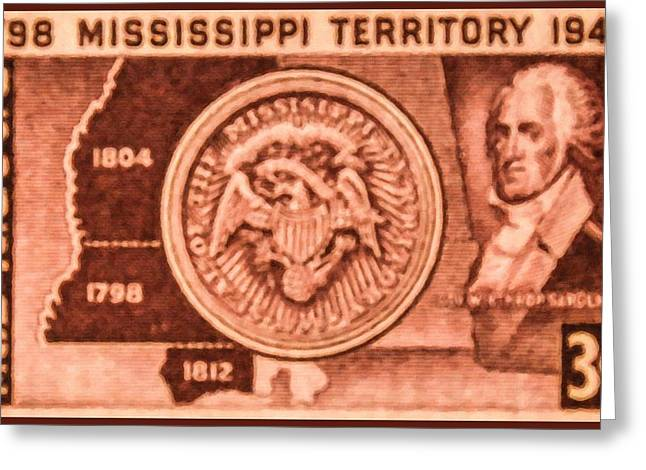 Winthrop Paintings Greeting Cards - The Mississippi Territory stamp Greeting Card by Lanjee Chee