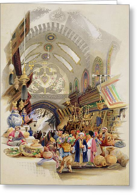 Istanbul Greeting Cards - The Missr Tcharsky, Or Egyptian Market Greeting Card by A. Margaretta Burr