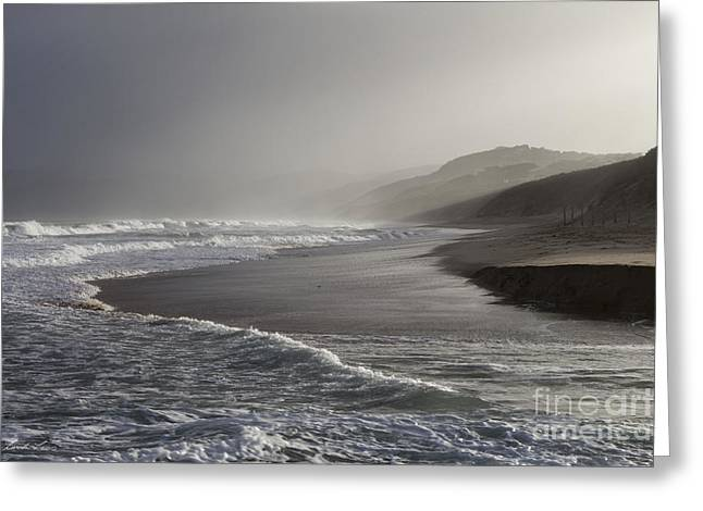 Foggy Beach Greeting Cards - The Mists of Fairhaven 2 Greeting Card by Linda Lees