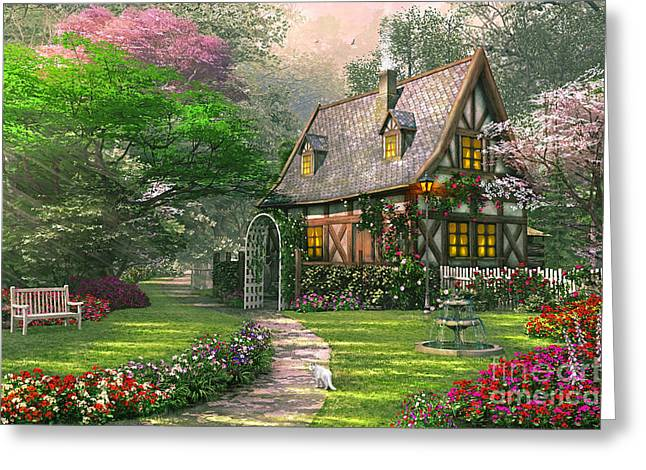 Blossom Digital Art Greeting Cards - The Misty Lane Cottage Greeting Card by Dominic Davison
