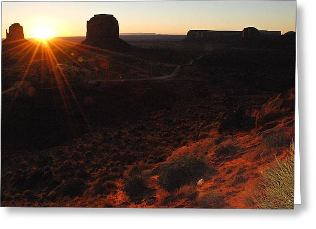 Geobob Greeting Cards - The Mittens at Dawn Monument Valley Utah Greeting Card by Robert Ford