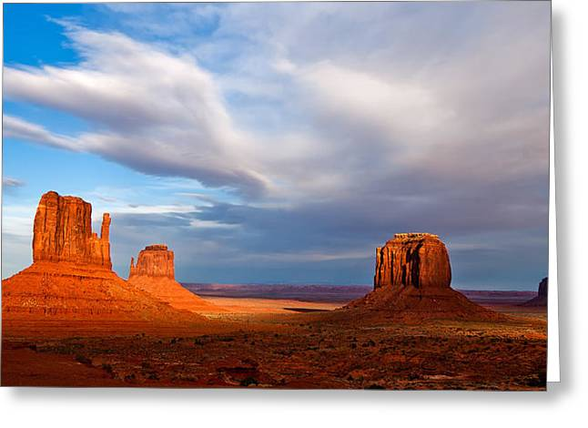 The Butte Greeting Cards - The Mittens Magical Light Greeting Card by Peter Tellone