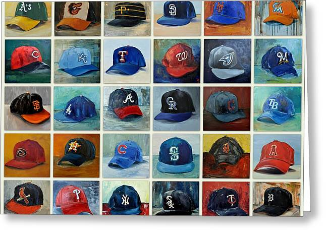League Paintings Greeting Cards - THE MLB Art Collection Greeting Card by Lindsay Frost