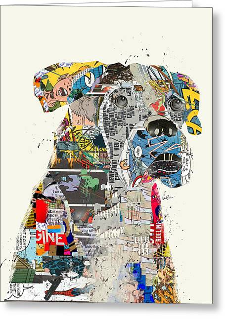 Boxer Print Greeting Cards - The Mod Boxer Greeting Card by Bri Buckley