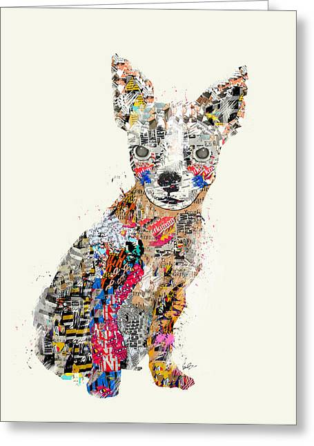 Chihuahua Collage Greeting Cards - The Mod Chihuahua Greeting Card by Bri Buckley