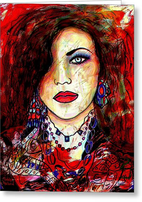 Bold Necklace Greeting Cards - The Model Greeting Card by Natalie Holland