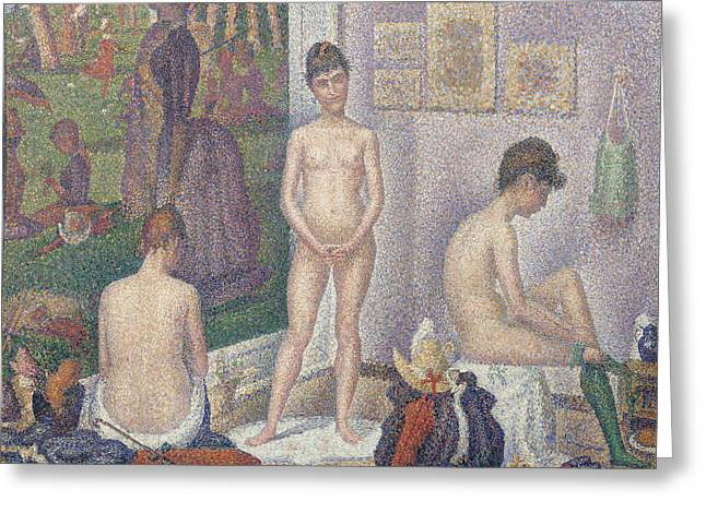 Georges Pierre Greeting Cards - The Models Greeting Card by Georges Pierre Seurat