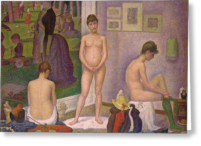 Seurat Greeting Cards - The Models Greeting Card by Georges Seurat