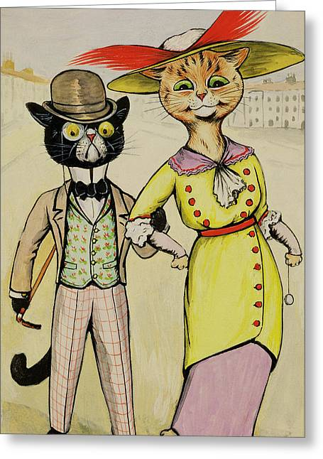 Cute Kitten Drawings Greeting Cards - The Modern Arry And Arriet Greeting Card by Louis Wain