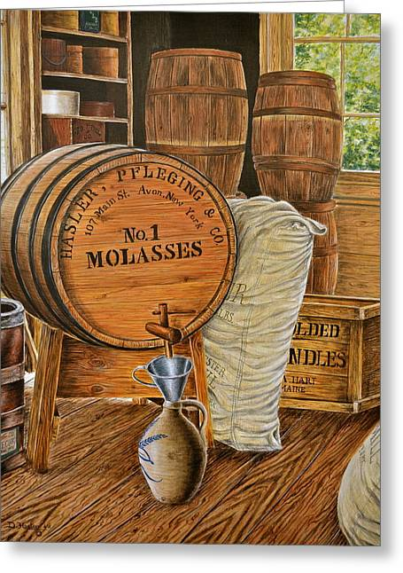 Stoneware Paintings Greeting Cards - The Molasses Barrels Greeting Card by Dave Hasler