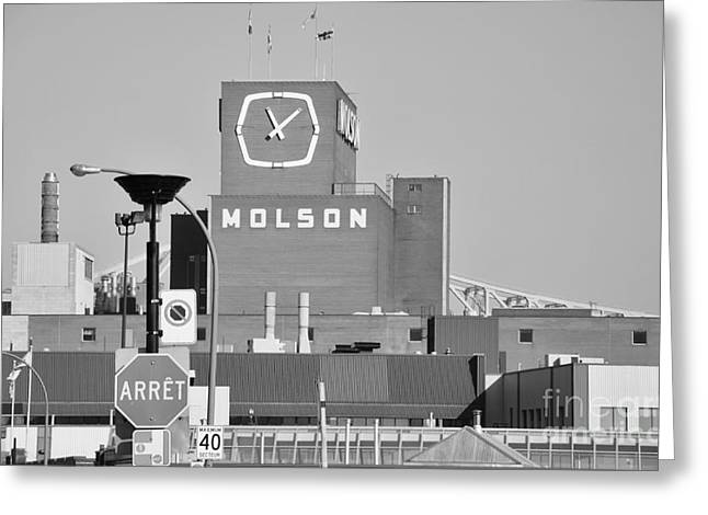 Streets Of Montreal Greeting Cards - The Molson Clock Montreal Greeting Card by Reb Frost