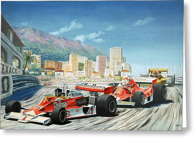 Monaco Greeting Cards - The Monaco Grand Prix Greeting Card by English School