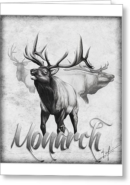 Hunting Drawings Greeting Cards - The Monarch Greeting Card by Nick Laferriere