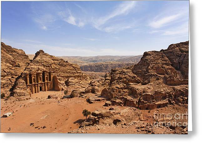 Petra - Jordan Greeting Cards - The Monastery and landscape at Petra in Jordan Greeting Card by Robert Preston