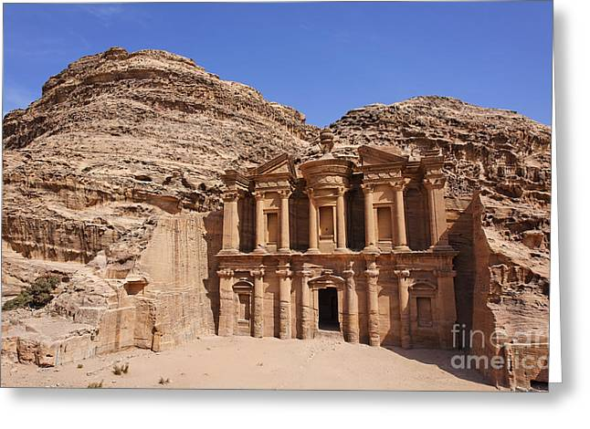 Petra - Jordan Greeting Cards - The Monastery at Petra Greeting Card by Robert Preston